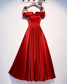 Abendkleider Spaghettiträger Lange Brautjungfernkleid A Linie Schlichte Rot Festliche Kleider Rüschen