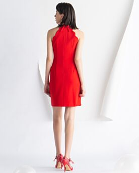 Red Cocktail Party Dress Sheath Chiffon Semi Formal Dresses Short Simple