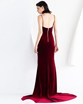 Elegantes Largos Terciopelo 2020 Vestidos De Noche Ajustados Espalda Descubierta