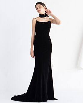 Schwarze Schlichte Lange Abendkleider Samt Bleistift Ärmellos Rückenausschnitt