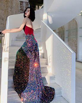 Spaghetti Strap Velvet Sparkly Open Back Evening Dress Sequin Long Sleeveless Sheath