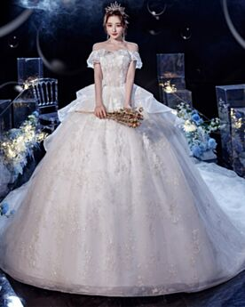 Ball Gowns Backless Sequin Bridals Wedding Dress Short Sleeve With Train Beautiful