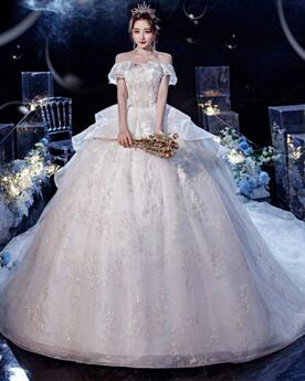 Tüll Rückenausschnitt Pailletten Prinzessin Brautkleider Rüschen Off Shoulder Applikationen