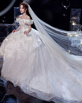 Tulle Dos Nu Paillette Boule Robe De Mariée À Volants Epaule Dénudée Appliques