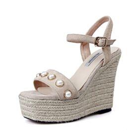 Leder 2018 Knöchelriemen Sandaletten Damen Perle Riemchenpumps 13 cm Plateau High Heel Keilabsatz Boho
