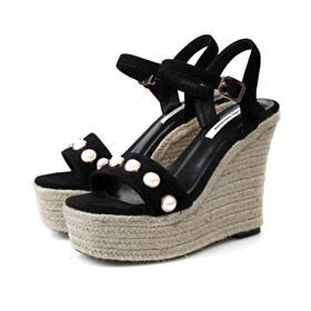 13 cm Chaussures Bride Cheville Compensées Plateforme Nude Boheme Talons Hauts Tressées Cuir Sandale