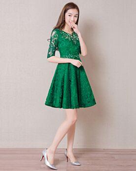 カクテル ドレス お呼ばれ ドレス グリーン ミニ レース ボヘミアン フレア 70820180925