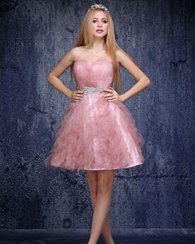 Blush Pink Semi Formal Dresses Tulle Boho Sweet 16 Dresses Strapless Backless Short Cocktail Dresses Cute