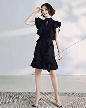 Chic Little Black Dress Vestiti Da Cocktail Nero Collo Alto Chiffon Balze Semplici Al Ginocchio