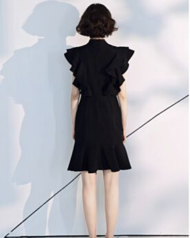 Cocktail Dresses Cute Juniors LBD Semi Formal Party Dress Ruffle Chiffon Black Simple Knee Length Fit And Flare