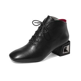 5 cm Heel Gevoerde Ronde Neus Klassiek Zwart Veter Blokhakken Oxford Schoenen