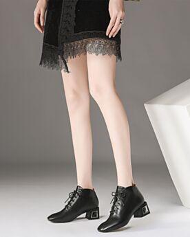 Chaussures Oxford 5 cm Talons Noir Cuir Classique Talon Carrés