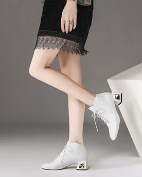Chunky Heel Mit 5 cm Absatz Blockabsatz Klassisch Business Schuhe Gefütterte Weiß Oxford Schuhe