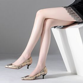 Spitz Zeh Lack Chunky Heel Rote Sohle Champagner Gold Leder Business Schuhe Pumps