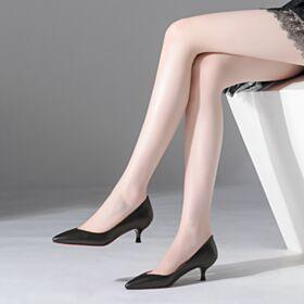 Spitz Zeh Chunky Heel Business Schuhe Damen Roter Sohle Damenschuhe 5 cm Kitten Heels Schwarz Pumps Lack