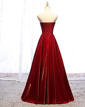 Backless Long Bridesmaid Dresses A Line Simple Evening Dress Red Satin