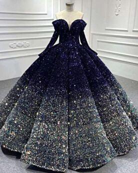 Robe De Fête Dos Nu Luxe Bleu Marine Sequin Boule Manche Longue Brillante Longue Robe De Bal