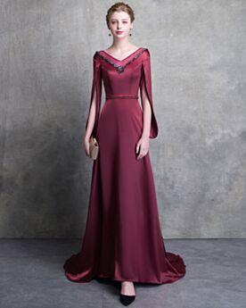 Empire Elegante Abendkleid Brautmutterkleid Burgunderrot