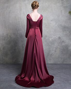 Empire Summer Satin Mother Of Bridal Dress Long Sleeve Formal Dresses Customizable Long Beading Burgundy 2018