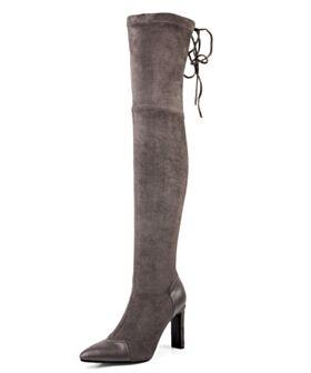Runtige Neus Overknee Hoge Laarzen Stretch Gevoerde Suede Taupe Hoge Hakken Blokhakken Laarzen Dames
