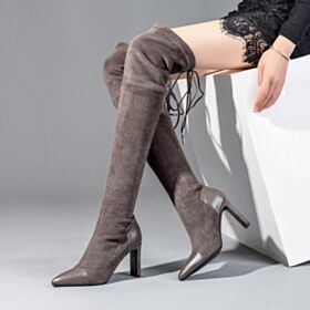 High Heels Suede Stretchy Thigh High Boots Womens Boot Leather Taupe Thick Heel High Boots Winter