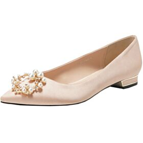 Satin Pointed Toe Champagne Gold 2019 Flat Bridesmaid Shoes Pearl Wedding Shoes Ballerina