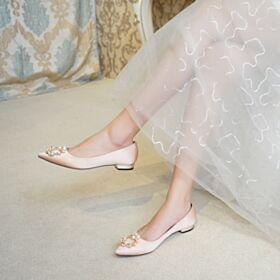 Brautjungfer Schuhe Ballerinas Hochzeitsschuhe Flache Satin 2019 Bequeme Spitz Zeh