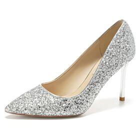 Pumps Glitter Stiletto Zilveren Feestschoenen Trouwschoenen High Heels Sparkle