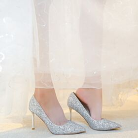 10 cm High Heel Glitter Wedding Shoes Stiletto Heels Pointed Toe Silver Pumps Shoes