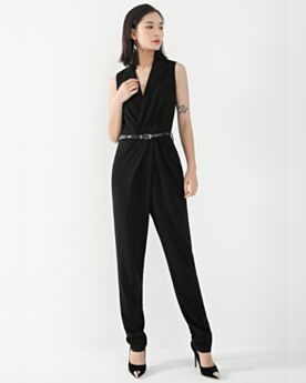 Elegant Long Chiffon Going Out 2019 Jumpsuits Office Dress Sheath Summer Black