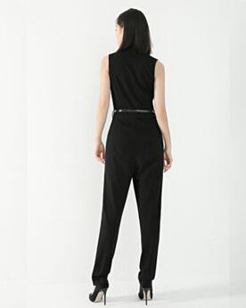 Elegant Long Chiffon Going Out 2019 Jumpsuits Office Dress Sheath Summer Black