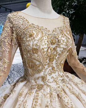 Rundhalsausschnitt Perlen Stickerei Applikationen Spitzen Lange Ärmel Herrlich Gold Pailletten Prinzessin Brautkleid