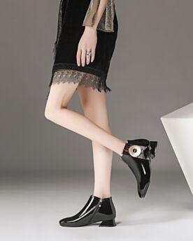 Comfortable Chelsea Gevoerde Damesschoenen Enkellaarsjes Zwart 3 cm Kitten Heels Blokhakken