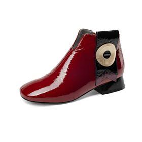Enkellaarsjes Lak Blokhakken Comfort Gevoerde Modern Chelsea Boots Leren Kitten Heel