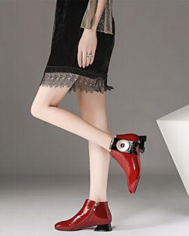 Cuir Fourrées 3 cm Petit Talon Chelsea Bottines Rouge Confort
