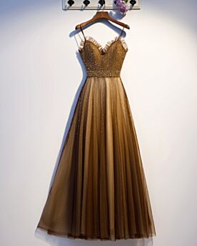 Perlen Herz Ausschnitt Abendkleid Spaghettiträger Pailletten Braun Ballkleid Elegante Ärmellos