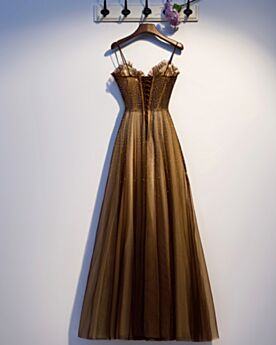 Open Back Prom Dress Evening Dresses Sweetheart Brown Sequin Elegant Spaghetti Strap