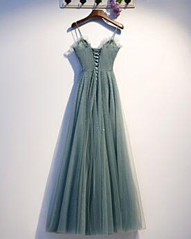 À Volants Robe De Fête Sequin Dos Nu Bleu Pétrole 2020 Empire Robe De Bal Tulle Perlage Élégant Bretelles Fines