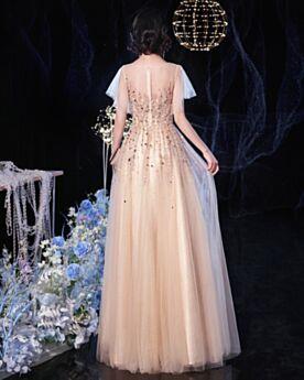 Robe Bal De Promo Manche Courte Brillante Perlage Robe De Bal Paillette Champagne Chic Princesse Dos Nu