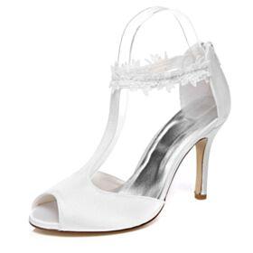 Sandali Donna Tacco Alto In Raso Tacchi A Spillo 2020 Scarpe Sposa Eleganti Cinturino Alla Caviglia Bianchi Spuntate