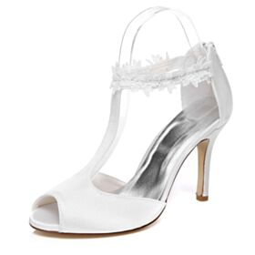 Stiletto Lace 3 inch High Heel White Charming Wedding Shoes Comfortable Ankle Boots