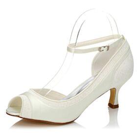 Weiß Pumps Mittel Heels Brautjungfer Schuhe Stilettos Applikationen Knöchelriemen Brautschuhe