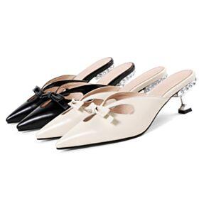 Sandali Con Fiocco Gioiello Nere 5 cm Tacco Medio Pelle