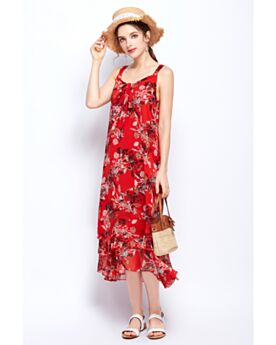 Maxi Chiffon Open Back Summer Spaghetti Strap Straight Beachwear Red Bohemian Dresses