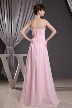 Pleated Open Back Beading Pink Formal Dresses Empire Chiffon