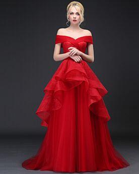 Spitzen Elegante Hochzeitskleider Vintage Rückenfreies Rot Schulterfreies Sommer Rüschen