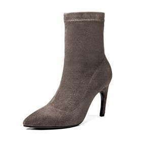 Ankle Boots High Heels Sock Leather Suede 2018 Boots Taupe Winter