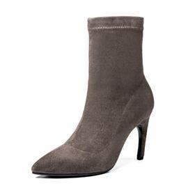 Taupe Enkellaarsjes Zakelijke Leren Runtige Neus Stiletto Laarzen High Heels Sock Boots Suede