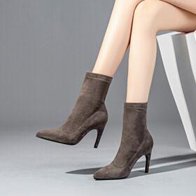 Sock Boots Spitz Zeh Taupe Stiefeletten Stiefel Business Schuhe Wildleder High Heel Stilettos