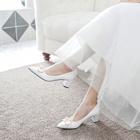 Bridal Shoes Elegant Kitten Heel Thick Heel Bridesmaid Shoes White Pumps Shoes